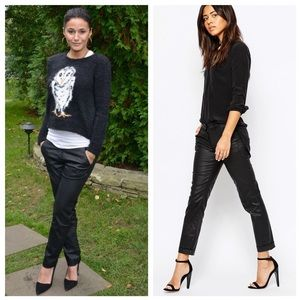 3x1 Black Coated Low Rise Leg Cuff Trousers